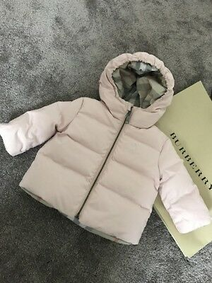 Burberry Baby Girl Reversible Ice Pink Puffer 6Months RRP£170