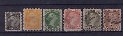 CANADA  #34-39  SHORT SET WELL CENTERED  SMALL QUEEN issues 1870-1893 FINE