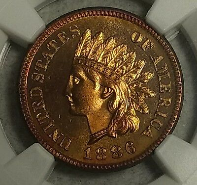 NGC PF-64 RB 1886 T1 Indian Head Cent! Blazing full red obverse & toned reverse!