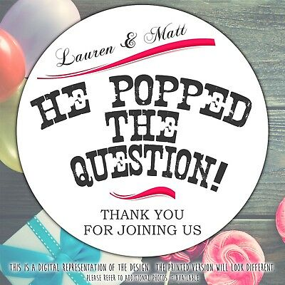Personalised He Popped the Question Engagement Party round stickers labels sheet