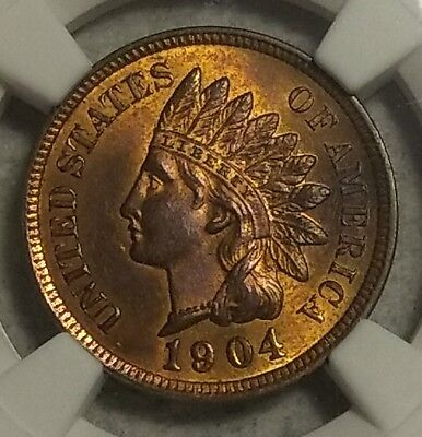 NGC MS-64 RB 1904 Indian Head Cent! 70% full red coin with a razor sharp strike!