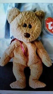 TY Beanie  Baby  CURLY bear retired with tag errors