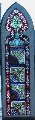 Gothic Top Flash Glass Stained Glass Window 1870's Six' Hi Architectural Salvage