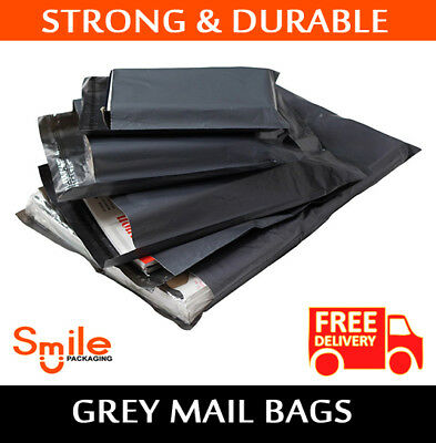 """200 BAGS 9"""" x 12"""" STRONG POLY MAILING POSTAGE POSTAL 55MU QUALITY SELF SEAL GREY"""