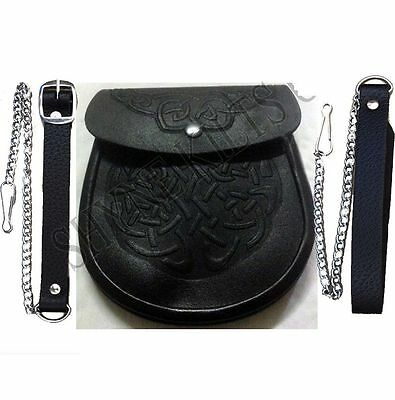 Have one to sell? Sell now Embossed Scottish Black LEATHER Kilt SPORRAN & Belt C