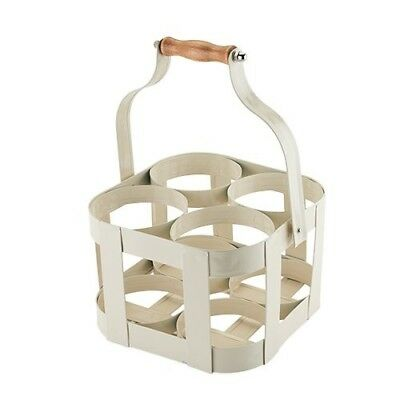 Twine Rustic Farmhouse Vintage 4 Bottle Carrier, White. Shipping Included
