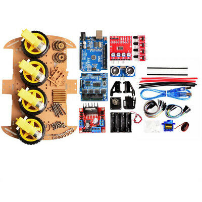 Avoid Tracking Motor Robot Car Chassis Tools Kit 4WD Ultrasonic For Arduino Chip