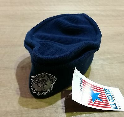 Georgetown Hoyas - Cuffed Knit Navy, Band, Beanie Hat - - 90's NCAA - New & Tags