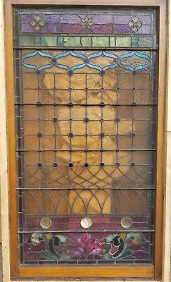 "Antique Stained Glass Window with flowers 71.5"" x 40"""