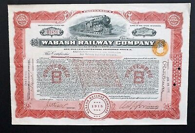 USA - Wabash Railway Company - 1916 - issued to Dutch Trustee - uncancelled