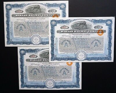 USA - 3x Wabash Railway Company - 1940 - issued to Dutch Trustee - uncancelled