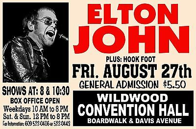 ELTON JOHN 1971 Wildwood NJ Convention Hall ArtRendition Poster Sign THouse 2015