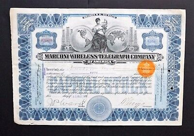 USA - Marconi Wireless Telegraph Company - issued to Dutch Trustee - uncancelled