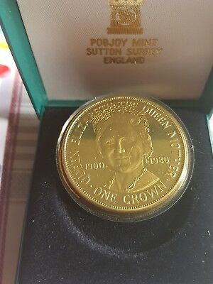 1980 Isle of Man diamond fimish one crown coin - ltd 100k - Queen Mother coa