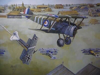 Original Acrylic painting by P.Hill- Sopwith Camel- low level attack- 1918 WW1