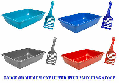 Cat Litter Tray - Medium/large - Dog - Pet - Toilet - With Scoops - 4 Colours