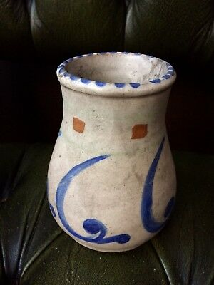 Honiton Studio  Pottery Vase Hand Thrown Hand Painted Collard