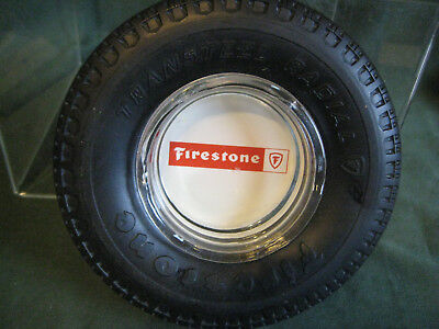 FIRESTONE vintage ASHTRAY advertising promotion large rubber glass insert gift
