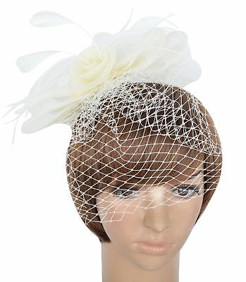 Womens Ball Fascinator Hat with Feather Veiling and Clip F-White