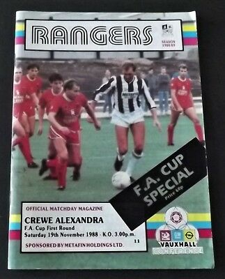 STAFFORD RANGERS Vs CREWE ALEXANDRA SAT 19th NOV 1988 Ko3pm FA CUP 1stROUND