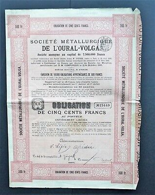 Russia - Metal Company Oural Volga 1910 - 5% bond for 500 francs