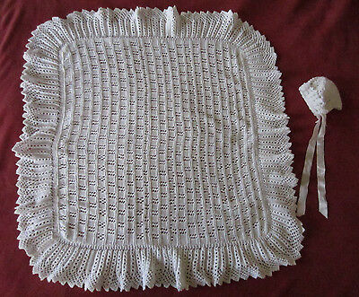 Hand-made white christening blanket set. New condition.