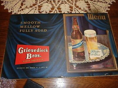 Griesedieck Bros. Light Lager Beer Paper sign, advertisement, poster