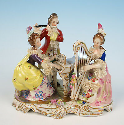 Volkstedt Dresden Lace Musician Group Figurine German Porcelain Group Harp Lady