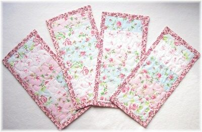 4 Shabby Roses Quilted Flannel Burp Cloths Baby Girl Shower Gift