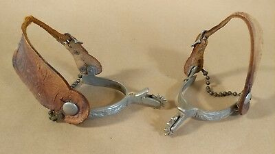 Antique Western Cowboy Mounted KELLY SPURS & leather straps old west decor