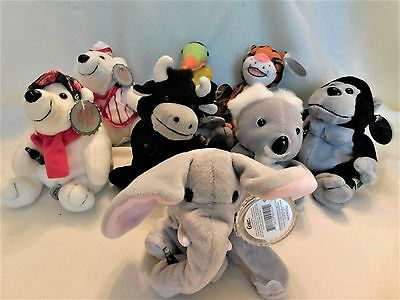 Coca Cola Collectible Plush Animals, Lot Of 8, From 1988 & 1999