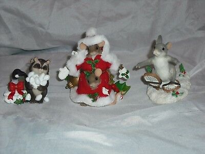Charming Tails Fitz And Floyd Lot of 3 Christmas Figurines Mouse Santa Raccoon