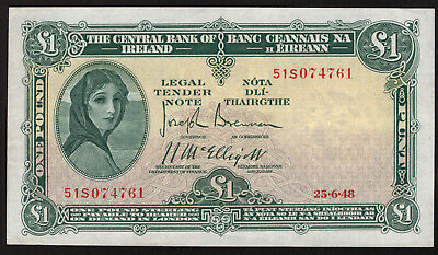 Central Bank of Ireland One Pound 1948. Nice Good Very Fine