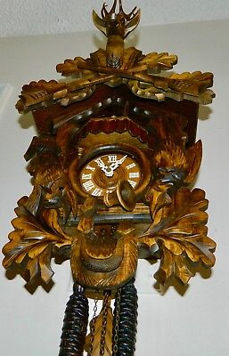 Beautiful Musical Animated Hunter Black Forest Germany Cuckoo Clock