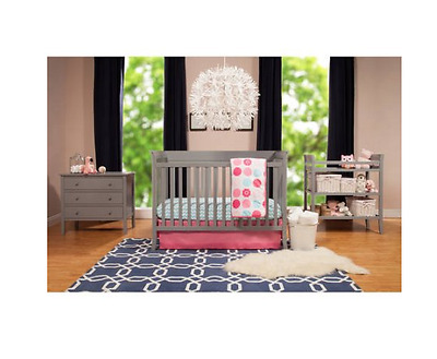**NEW** 4-Piece Nursery Crib Set w/BONUS Changing Table, pad, Dresser, Gray/ Ava