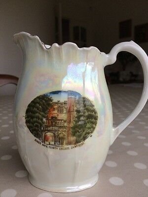 Pearl glaze Luster Jug Cambridge Scene Kings Gate Trinity College
