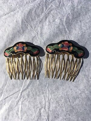 Set Of Two Vintage  Brass Hair Combs