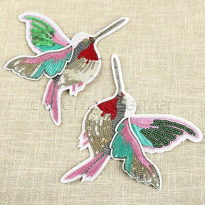 Paillette Hummingbirds DIY Sewing Patches Patch Badge Embroidery Patch Applique