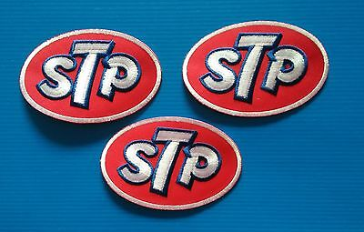3 LOT STP OIL BIG 4 X 2.5 Inch Embrodered Iron Or Sewn On Patches Free Ship