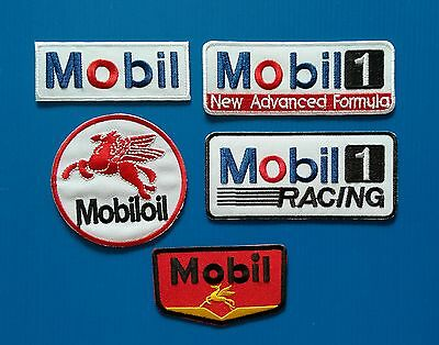 5 MOBIL 1 RACING GAS OIL Embrodered Iron Or Sewn On UNIFORM  Patches Free Ship