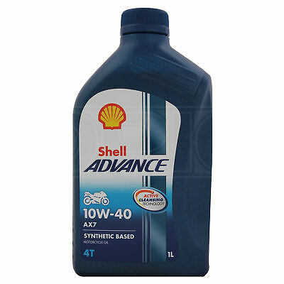 Shell Advance AX7 10W-40 Four-Stroke Motorcycle 4T 10W40 Engine Oil 1 Litre 1L