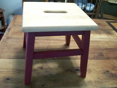 "Vintage WOODEN STOOL -CARRY SLOT-12"" x 12"" - natural finish top-painted legs"