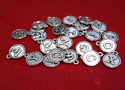 """26pc """"alphabet letter set"""" charms in antique silver style (BC1164)"""