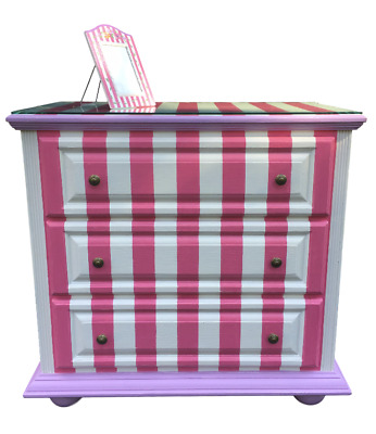 Brighton Pavilion Hand Painted Pink Striped Dress Drawer Chest French Country