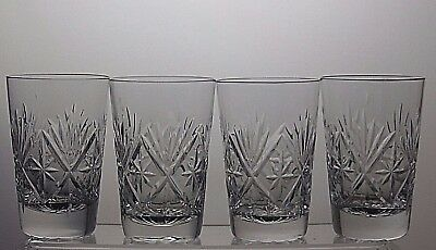 "Lead Crystal Whisky Tumblers Flat Tumblers Set Of 4 - 9 2/3"" Tall"