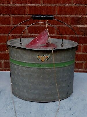 Rare Vtg Galvanized MIT-SHEL Oval Minnow Pail Bucket, UP TO DATE, Orig Paint VGC