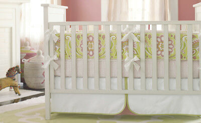 Serena Lily Baby Crib Skirt Dust Ruffle Lola Green Pink Nursery GREAT