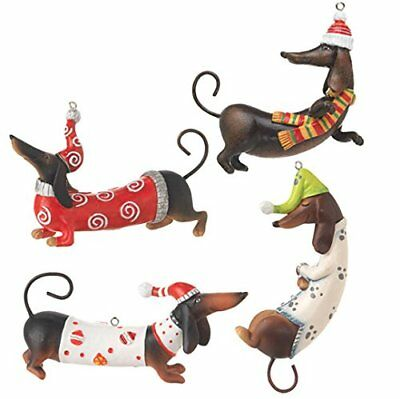 Pet Puppy Dogs Dachshund Christmas Ornament Resin Figurine Home Decor Holiday