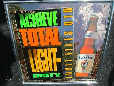 Old Style Light beer sign mirror brewery bar vintage Heileman man cave