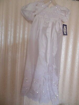 Baby Christening Gown White With Sequins & Pearls New With Tag Has Bonnet